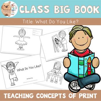 Emergent Readers: Concepts of Print Class Big Book - Letters, Words & Sentences