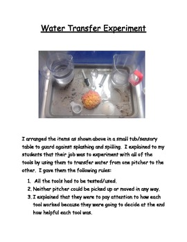 Science Activity-Water Transfer Experiment