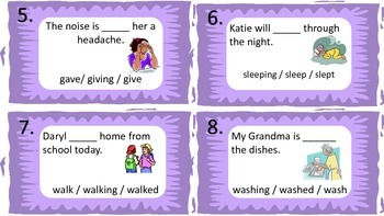Subject Verb Agreement - Verb Tense - Task Cards