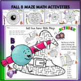 FALL FUN WITH 8 MAZE COLORING AND MATH ACTIVITIES 24 PAGES