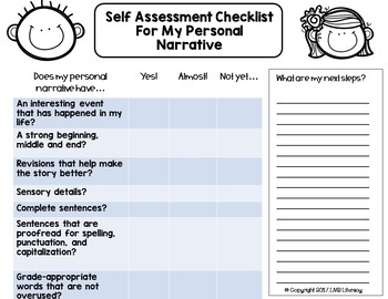 FREE!  Self Assessment Checklists for Writing