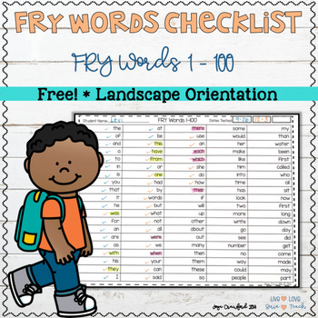 FREE FRY Words 1-100 Checklist (landscape)