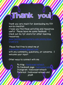 FREE FRY Words 1-100 Checklist (portrait)