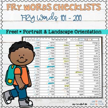 FREE FRY Words Checklist 101-200 (portrait)