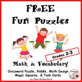 FREE FUN PUZZLES = Crossword, Magic Squares, Design, Riddle, Task Cards  2-3
