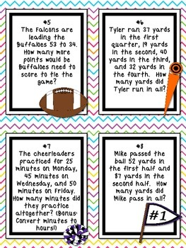 *FREE* Fabulous Football Fun Math Word Problem Task Cards