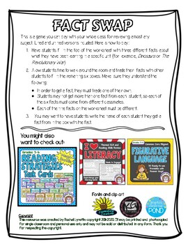 Review Game Fact Swap Review Game for Any Subject  FREE