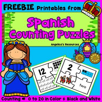 FREEBIE - Los Numeros : Fairy Tale Number Puzzle in Spanish