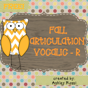 FREE Articulation Vocalic AR for Speech Therapy