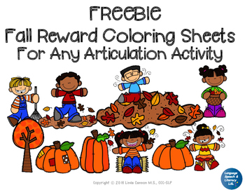 FREE - Fall Coloring Sheets For Articulation Activities