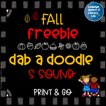 FREE Fall No Prep Activity  for Articulation of the S Sound Speech Therapy