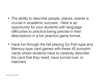 FREE Fall Describing Pumpkins Card Games Speech Language Therapy
