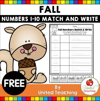 FREE Fall Numbers Match & Write