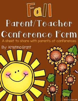 FREE Fall Parent/Teacher Conference Form