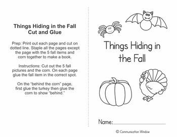 FREE Fall Prepositions Cut and Glue Book