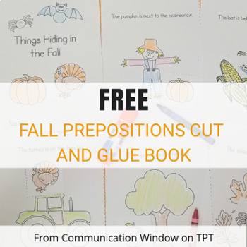 FREE Fall Prepositions Cut and Glue Book