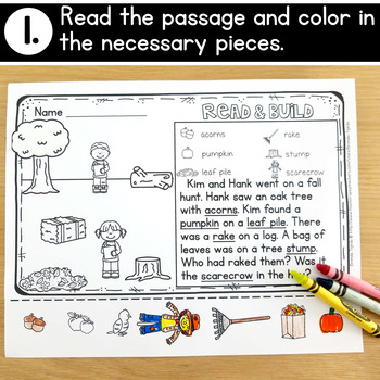 FREE Fall Reading Comprehension Cut & Paste Passage