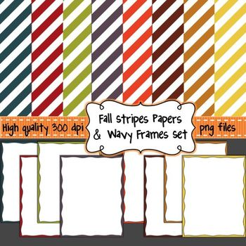 FREE Fall Stripes Digital Background Papers & Wavy Borders for Commercial Use