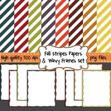 FREE Fall Stripes Digital Background Papers & Wavy Borders