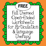 FREE: Fall Themed Open-Ended Articulation & Language Worksheets