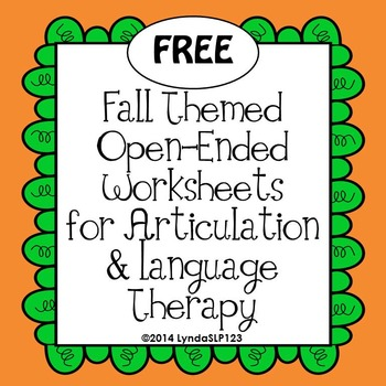 Printables Free Articulation Worksheets free fall themed open ended articulation by lyndaslp123 language worksheets