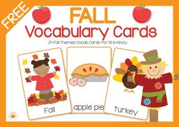 FREE Fall Vocabulary Cards