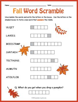 FREE Fall Vocabulary Worksheet - Autumn Word Scramble