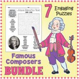 FAMOUS COMPOSERS BUNDLE - Word Search Puzzle Worksheet Activities