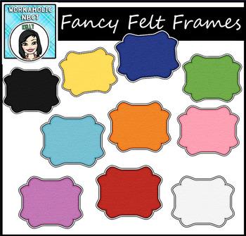 (FREE) Fancy Felt Frames Clip Art Set