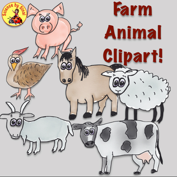 FREE Whimsical Farm Animals CLIP ART for Personal or Commercial Use