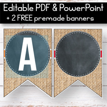 FREE Farmhouse Banner for the Classroom - Chalkboard and Buralp Classroom Theme