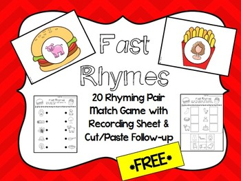 """FREE """"Fast Rhymes"""" Center Game with recording sheets"""