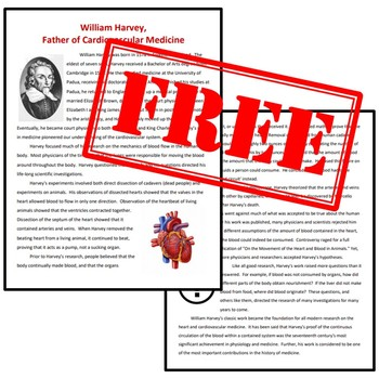"""FREE """"Father of Cardiovascular Medicine"""" William Harvey Biography NGSS MS-LS1-3"""