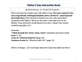 FREE  Father's Day Interactive Book--Special Education and Speech