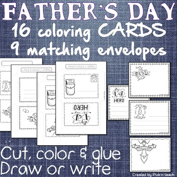 FREE - Father's day coloring cards & matching envelopes