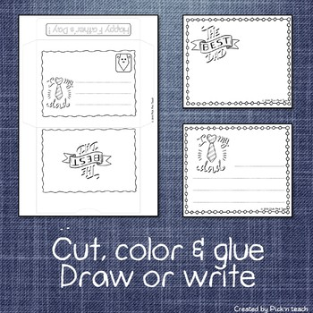 Father's day coloring cards & matching envelopes