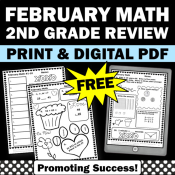 valentine's day math 2nd grade worksheets February free