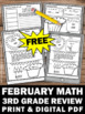 FREE February Math Daily Morning Work 3rd Grade Worksheets Homework Review