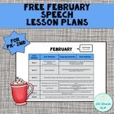 FREE February Speech Lesson Plans PK-2nd