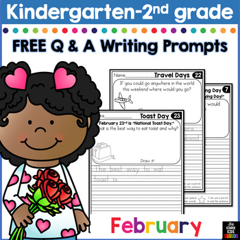 FREE February Writing Prompts for Kindergarten to Second Grade