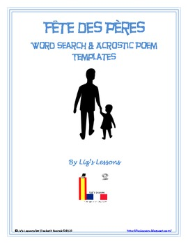 FREE Fete Des Peres Word Search and Acrostic Poem Templates