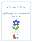 FREE Fete des Meres Digital Greeting Cards, Acrostic Poem, and Bingo Board Templates