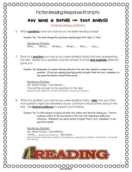 FREE Fiction Common Core Text Dependent Reading Response Prompts