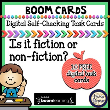 FREE Fiction or Non-Fiction Task Cards - Boom Cards Interactive Task Cards