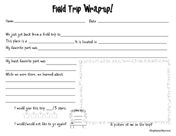 Free field trip wrap up by sunnydays teachers pay teachers for Field trip lesson plan template
