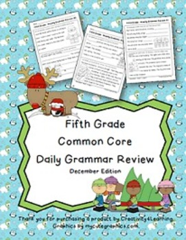 FREE Fifth Grade Common Core Daily Grammar Review - December Edition