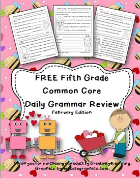 FREE Fifth Grade Common Core Daily Grammar Review - February Edition