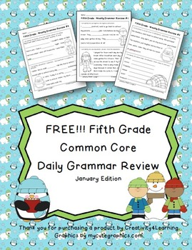 FREE Fifth Grade Common Core Daily Grammar Review - January Edition