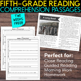 FREE Fifth Grade Weekly Reading Comprehension [Nonfiction and Fiction]