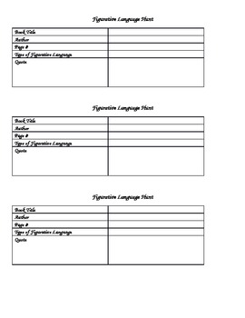 FREE Figurative Language Scavenger Hunt